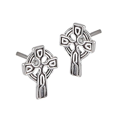 Detailed Celtic Cross Halo .925 Sterling Silver Crucifix Traditional Catholic Stud Earrings