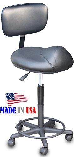 916-BS Salon Cutting Stool Anti-Fatigue Saddle chair w/BA...
