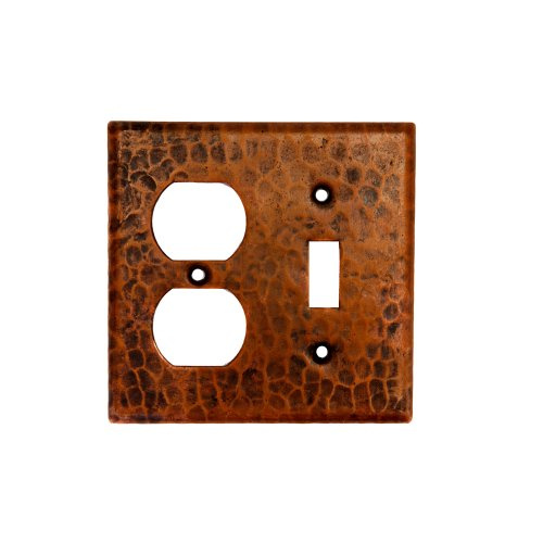 Premier Copper Products SCOT Copper Combination Switch Plate with Two Hole Outlet and Single Toggle Switch, Oil Rubbed Bronze by Premier Copper Products