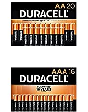Duracell CopperTop AA + AAA Batteries Combo Pack | AA 20 Count + AAA 16 Count | Long Lasting, All-Purpose Double A and Triple A Battery | Ideal for Household and Office Devices
