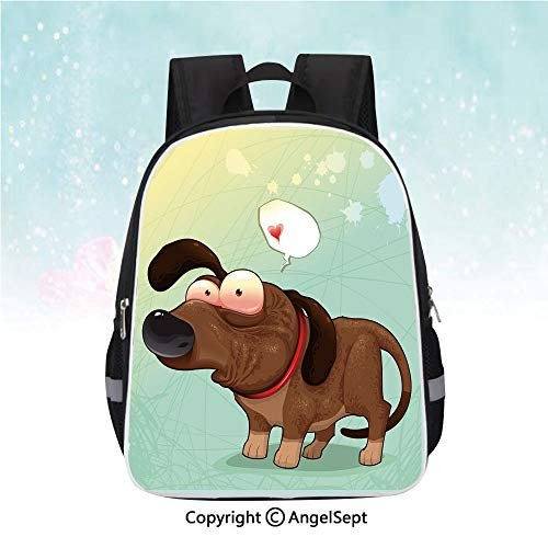 (Nylon Fabric Backpack,Puppy in Love Werner Dog Romance Confusion Humor Caricature Style Pet Graphic,13