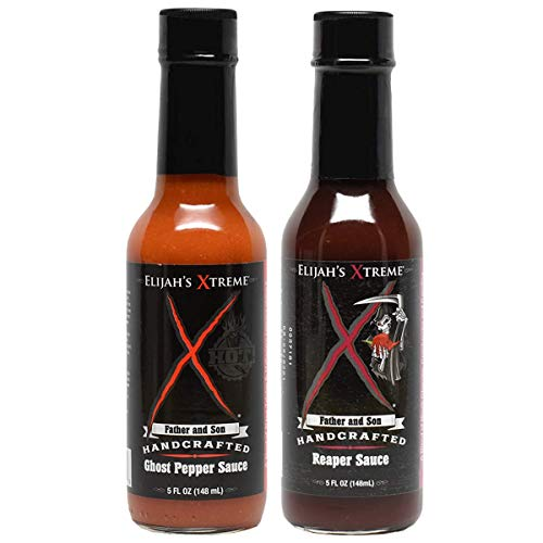 (Elijah's Extreme Ghost Pepper and Carolina Reaper Hot Sauce 2-Pack for BBQ Meat Marinade and Dipping (5 oz Each))