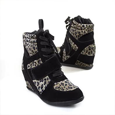 Bolaro Women's SN1099 Lace Up Hightop Hidden Wedge Sneakers, Leopard Black Suede (11 B(M) US)