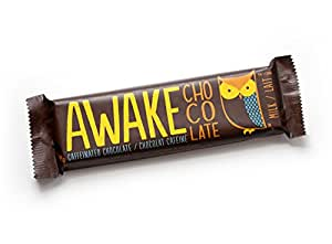 AWAKE Caffeinated Chocolate Bars – Milk Chocolate with Caffeine – 12 Pack