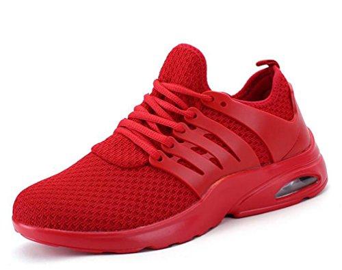 De malla ligera de aire atlético cojín Running Tenis transpirable cómodo de baloncesto de encaje zapatos de los hombres UE tamaño 39-44 Red