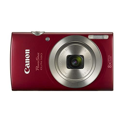 Canon PowerShot ELPH 180 Digital Camera (Red) + Transcend 16GB Memory Card + Camera Case + USB Card Reader + LCD Screen…