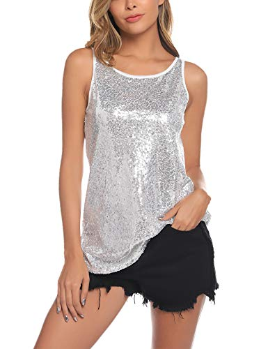 barnkas Women's Sequin Top Sparkle Shirt Shimmer Glitter Camisole Vest Loose Party Tunic Tops (Silver, L) ()