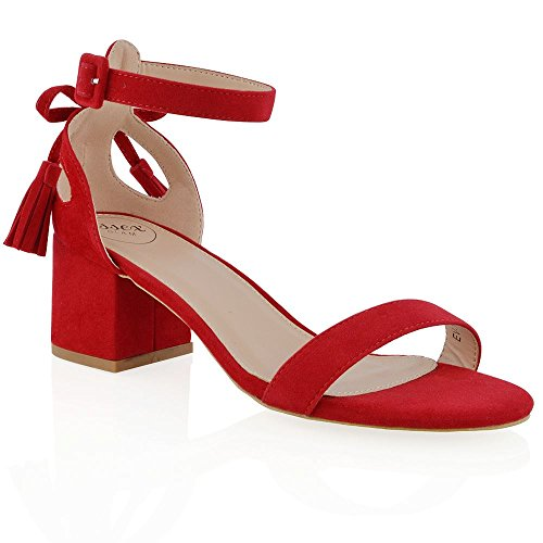 Essex Glam Women's Faux Suede Ankle Strap Low Heel Cut Out Bow Sandals Red Faux Suede VLfvTeoJ