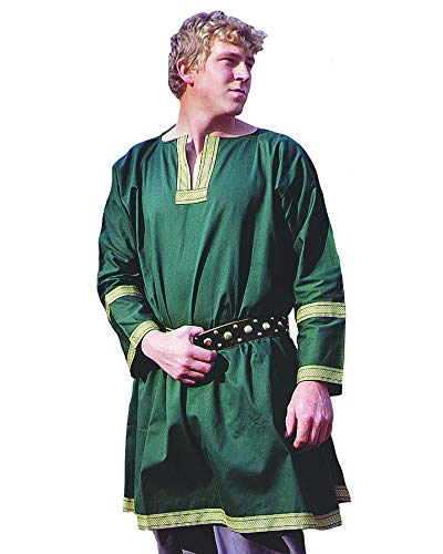 Museum Replicas Cotton Viking Tunic LARP Medieval Halloween Costume (Green, Regular) -