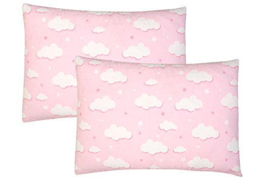 Toddler Pillowcase, 2 pack- Premium Cotton Flannel, SOFT & BREATHABLE, toddler pillowcase 13x18, Pink Clouds by Luxuriously Soft-NEW YORK