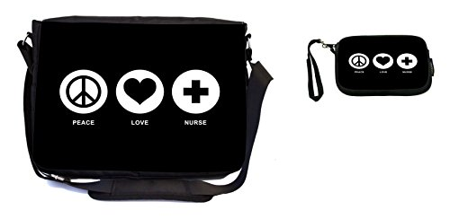 Rikki Knight Peace Love Nurse Black Color Design Messenger Bag - School Bag - Laptop Bag - with Padded Insert - Includes UKBK Premium Coin Purse by Rikki Knight