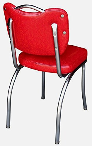 Richardson Seating Handle Back Retro Kitchen Chair in Single Tone Channel Back with 2 Box Seat, Cracked Ice Red