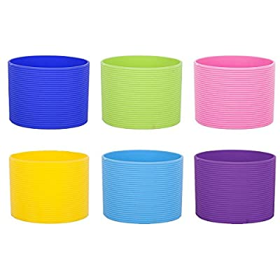 """Aspire Recycled Silicon Coffee Sleeve Assorted Colors, 6 Pcs, 2-1/2""""Dia"""