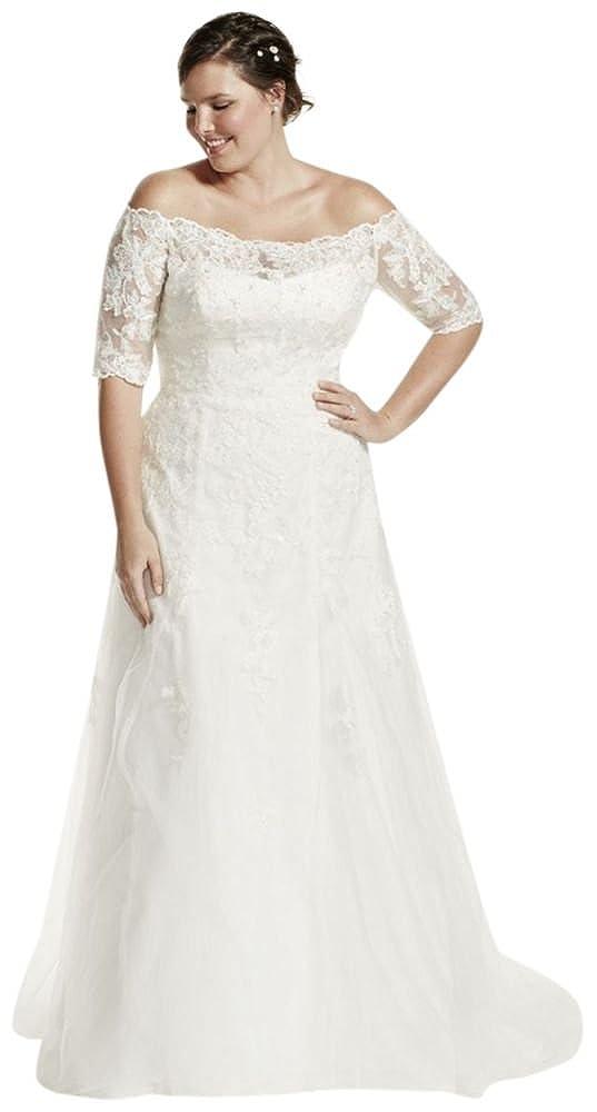 David\'s Bridal Jewel 3/4 Sleeve Plus Size Wedding Dress ...