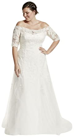David\'s Bridal Jewel 3/4 Sleeve Plus Size Wedding Dress ...