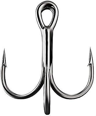50pcs Fishing Hook Black Nickel Sharpened Treble Hooks Full Sizes Saltwater Hook