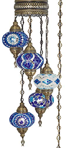 - (10 Colors) Swag Plug in Light, Demmex 5 Big Globes Turkish Moroccan Mosaic Tiffany Swag Wall Plug in Ceiling Hanging Light Chandelier Lighting, 15feet Chain Cord North American Plug (Blues)