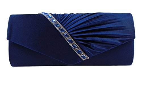 (AITING Womens Satin Diamante Pleated Evening Clutch Bag Bridal Handbag Prom Purse (Navy Blue-3) )