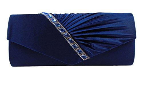 AITING Womens Satin Diamante Pleated Evening Clutch Bag Bridal Handbag Prom Purse (Navy Blue-3)