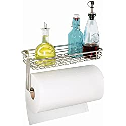 InterDesign Classico Paper Towel Holder with Shelf for Kitchen, Laundry, Garage - Wall Mount