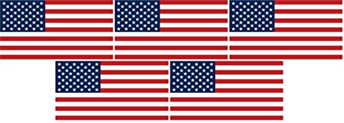 Safety Depot Hard Hat American Flag Sticker Decal Weather Resistant Flexible Vinyl Suitable for Cars, Windows and Smooth Surfaces. (5 Pack)