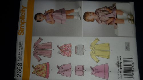 Simplicity 2668 Sewing Pattern for Infants XXS Xs S M L Sleeveless Yoked Dress. TOP Panties Coat Sleeveless Panties