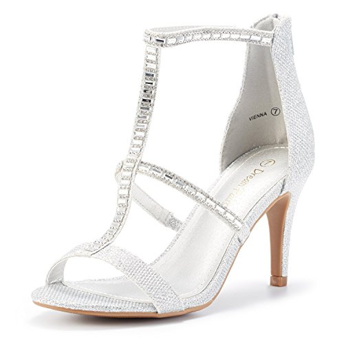 DREAM PAIRS Women's Vienna Silver Glitter Fashion Stilettos Open Toe Pump Heeled Sandals Size 8 B(M) ()