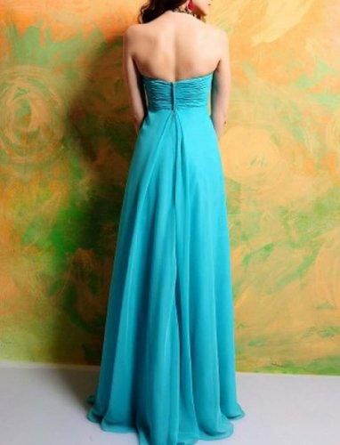 Kleidungen Brautjungfernkleider Ausschnitt Empire Blau Bodenlang Chiffon Dearta Damen Aermellos Herz 17pTwCqw