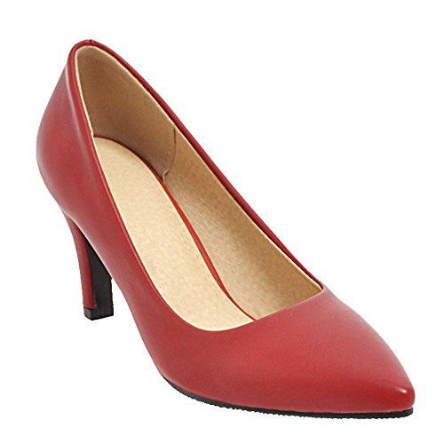 Charm Piede Donna Punta A Punta Tacco Medio Elegante Scarpe Da Lavoro Scarpe Vino Rosso