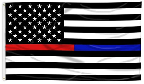 MAGGIFT Thin-Blue-Line American Police Flag 3x5 FT Embroidered Stars Flag Black White Blue (Blue+Red) -