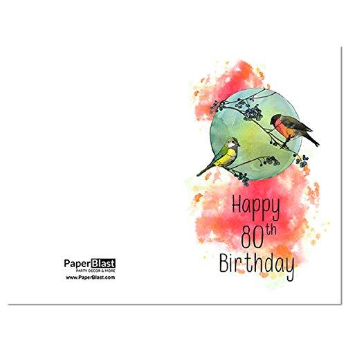 Amazon Birds Happy 80th Birthday Card With Custom Handwritten