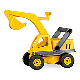 Lena Eco Active Excavator Toy for Kids, Made Out of A Plastic-Wood-Compound with Wooden Smell, Galvanised Steel Axles, Lockable Excavator. Length: 35 cm