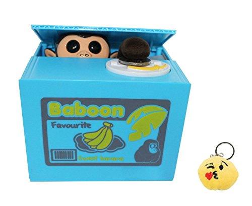 Free Emoji Keychain + Cute Stealing Coin Money Banana Box Monkey Bank Perfect Gift ~ WPYST