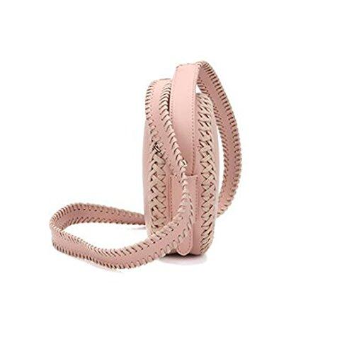 de de Personalidad Las Crossbody Moda Mujeres de de la Yu·casa Liu Cuero Bolso Pink Mensajero PU Hombro la Redondo creativa la de Bolso versátil Bolso de Brown Color de de qwZI6Y