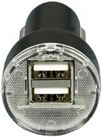 ZébaTM - Cargador para coche con 2 puertos USB 2.1 (entrada: 12-24 V, salida: 5 V, 1000~2000 mA, 60 x 21 mm)