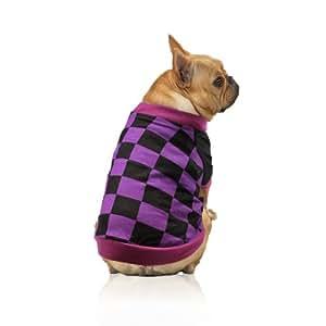 Yak Pak Dog T-Shirt, X-Small, Purple Black Check