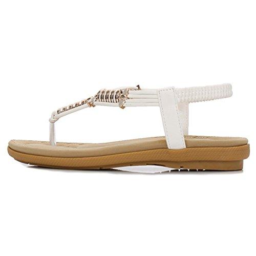 JITIAN Sandales Plages Plates Mode Mules Bride Arrière Salomé Confort Clip Toe Tongs Chaussures Femmes Blanc AMecbMSoP