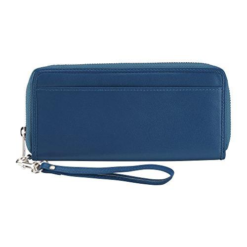 Lewis N. Clark RFID-Blocking Leather Card Holder Clutch, Deep Blue