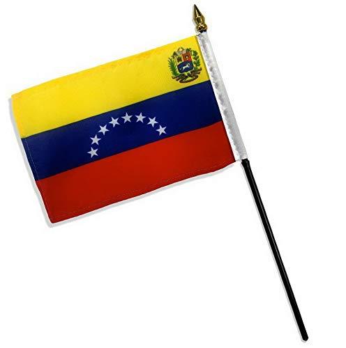 Mikash Venezuela 8 Star Crest 4x6 Flag Desk Table Stick (Sewn Edges)   Model FLG - 2689 ()