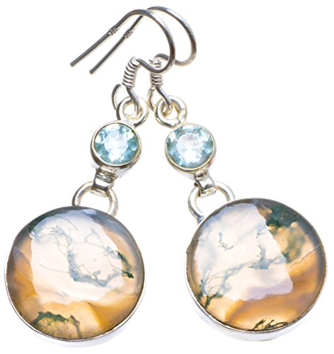 Natural Moss Agate and Blue Topaz Handmade Unique 925 Sterling Silver Earrings 1.5