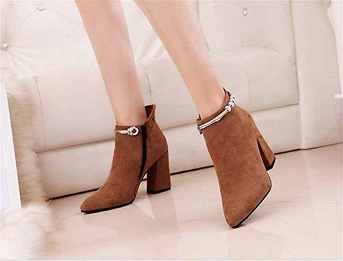 De Cremalleras Deed Señoras 37 Zapatos 'botas Eu Suede Remaches Trabajo Puntiagudos wZRw0