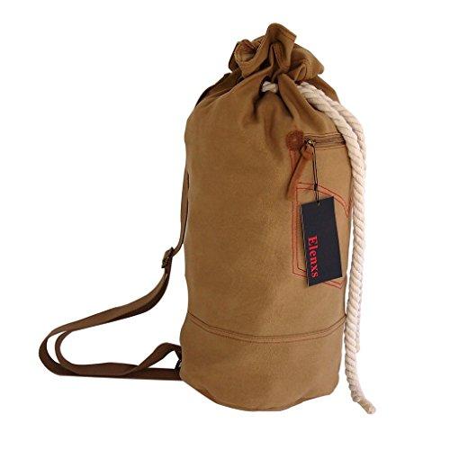 Elenxs Canvas Bag Men's Duffle School Sporting Gym Hiking Weekend Luggage Strong Shoulder Strap Bag