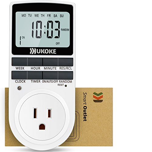 UKOKE UTM01WFBA UTM01W, Appliance, 7 Day Weekly Programmable Outlet, Wall Switch, Digital Light, Plug-in Timer for Electrical Outle (1 ()