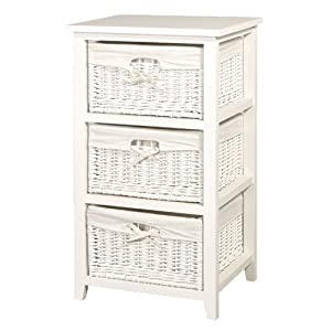 White Wicker Tall 3 Basket Storage Chest Of Drawers