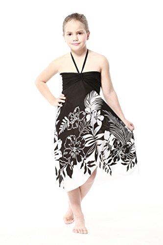 Girl Hawaiian Halter Dress in Black Indri