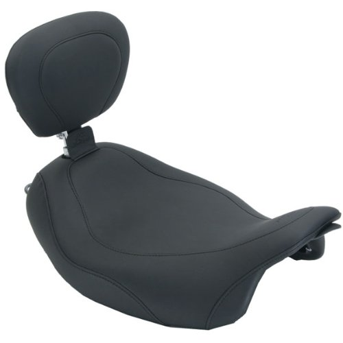 Mustang 14 in. Smooth Wide Tripper Solo Seat with Driver Backrest for Harley Da - 14