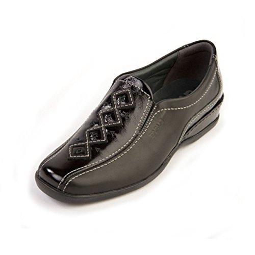 Piel Suave black Otra patent Zapatos mujer para de cordones negro de XgXqU