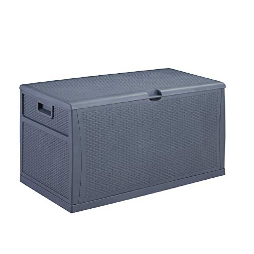 Leisurelife Plastic Deck Box Wicker 120 Gallon, Gray - Waterproof Storage Container Outdoor Patio Garden Furniture