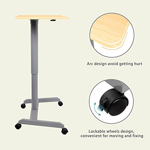 Standing Desk, Multipurpose and Height Adjustable Computer Desk for Home, Office (Light Wood) by Amoiu (Image #4)