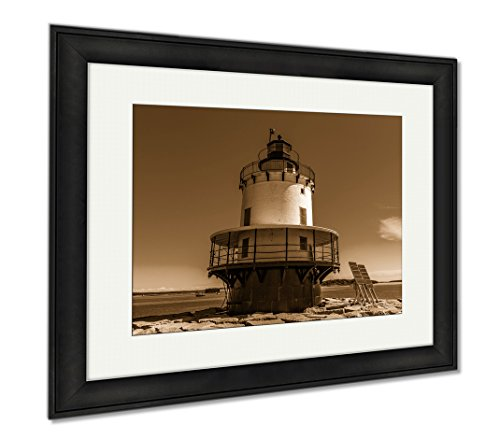 Ashley Framed Prints Spring Point Ledge Light Is A Sparkplug Lighthouse In South Portland Maine That, Wall Art Home Decoration, Sepia, 26x30 (frame size), Black Frame, - South Maine Portland Frame Shop
